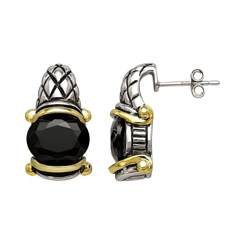 Two Tone Sterling Silver Onyx Drop Earrings