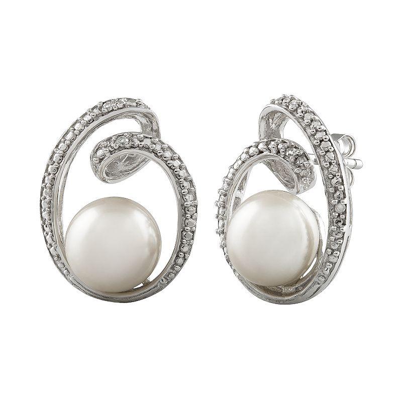 Sterling Silver Freshwater Cultured Pearl & Diamond Accent Swirl Drop Earrings