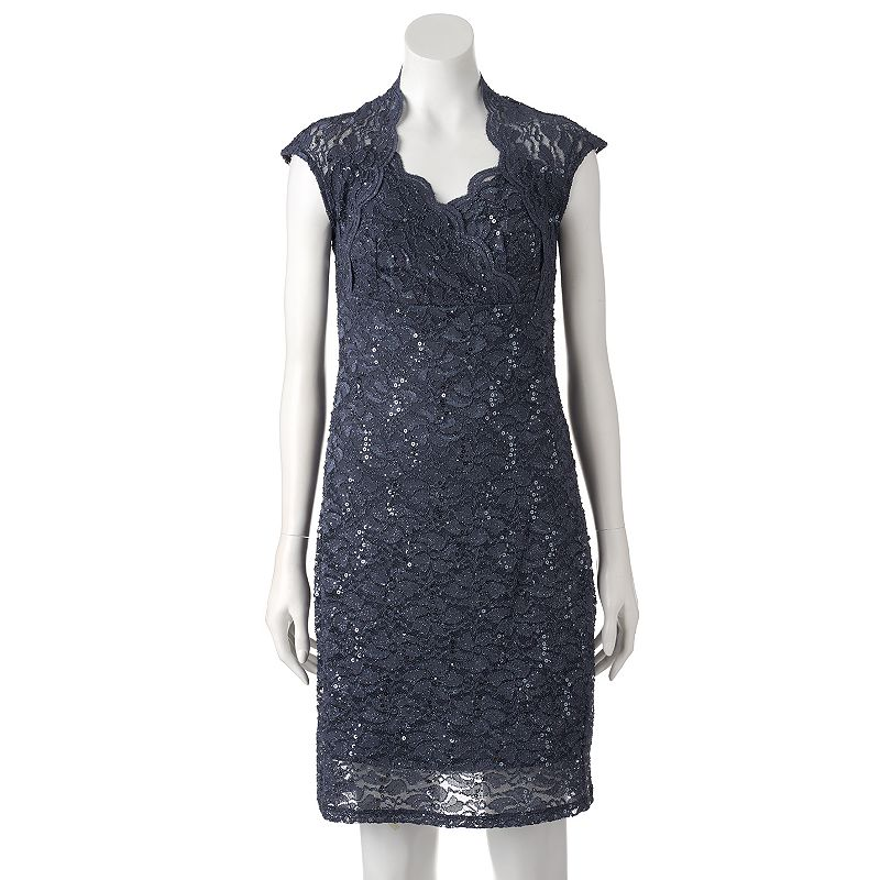 Women's Onyx Nite Glitter Lace Empire Dress