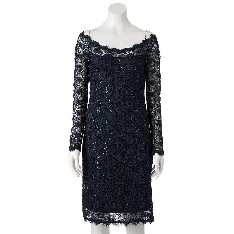 Women's Onyx Nite Lace Sequin Sheath Dress