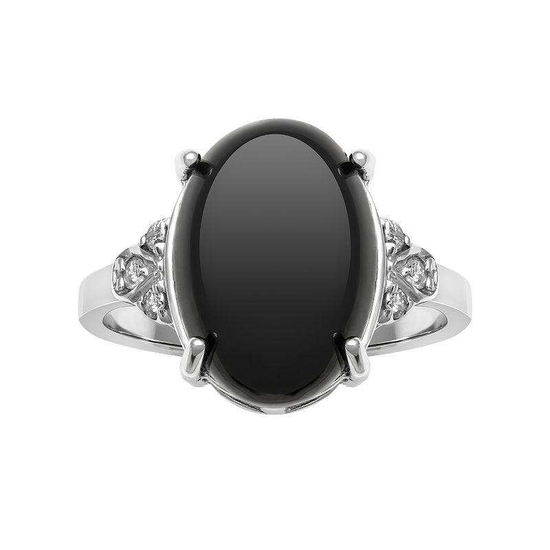 Sterling Silver Onyx & 1/10 Carat T.W. Diamond Ring