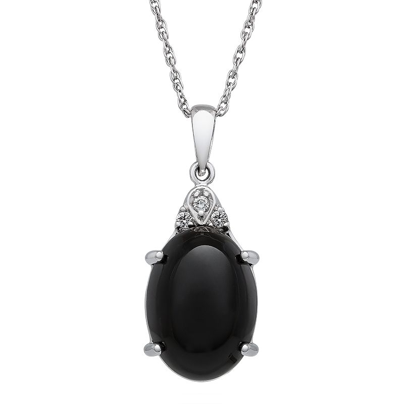 Sterling Silver Onyx & Diamond Accent Oval Pendant