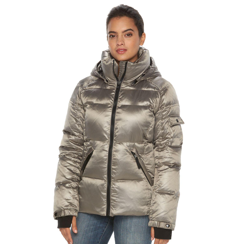 Womens S13 Kylie Hooded Metallic Down Puffer Jacket