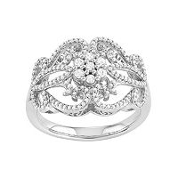 Simply Vera Vera Wang Sterling Silver 1/2 Carat T.W. Diamond Flower Ring