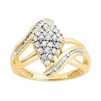 10k Gold 1/2 Carat T.W. Diamond Kite Ring