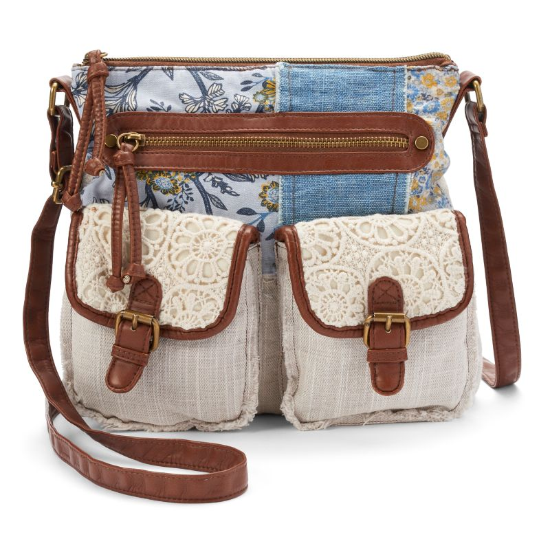 Mudd Primrose Patchwork Denim & Lace Crossbody Bag, Women's, Blue
