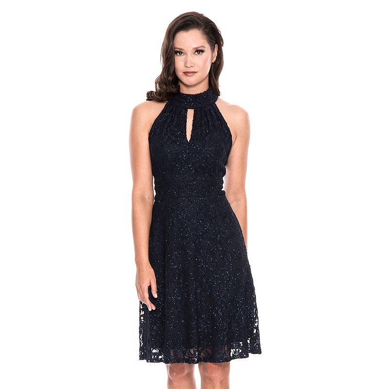 Women's 1 by 8 Keyhole Lace Fit & Flare Dress