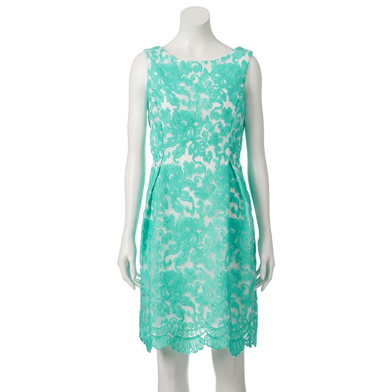 Women's Donna Ricco Embroidered Floral Fit & Flare Dress