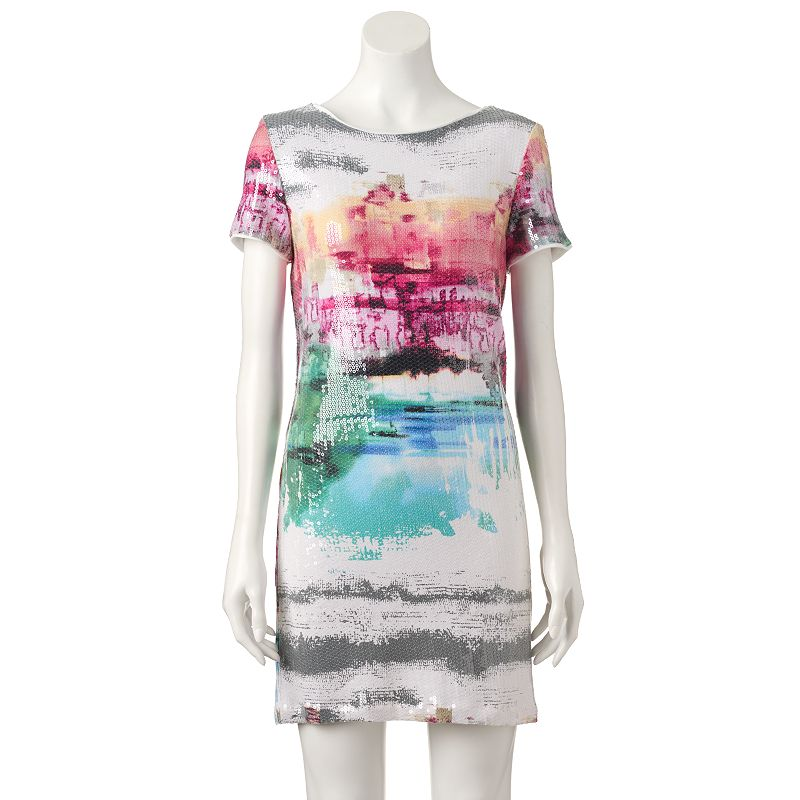 Women's M by Maia Abstract Sequin Shift Dress