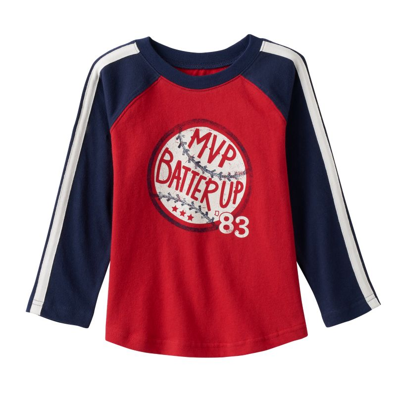 Toddler Boy Jumping Beans Raglan Long Sleeve Sport Graphic Tee, Size: 3T, Med Red