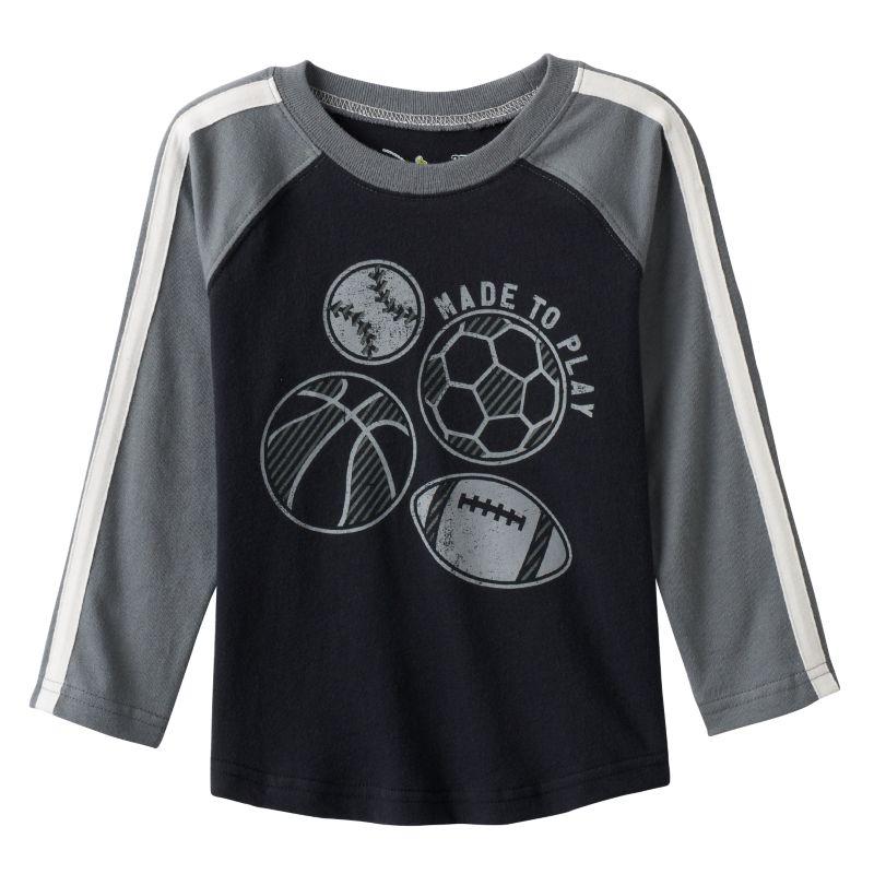 Toddler Boy Jumping Beans Raglan Long Sleeve Sport Graphic Tee, Size: 3T, Black