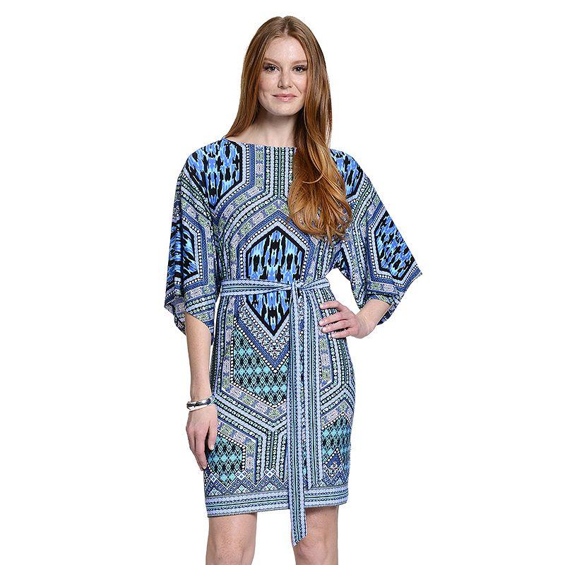 Women's Indication Print Kimono Shift Dress