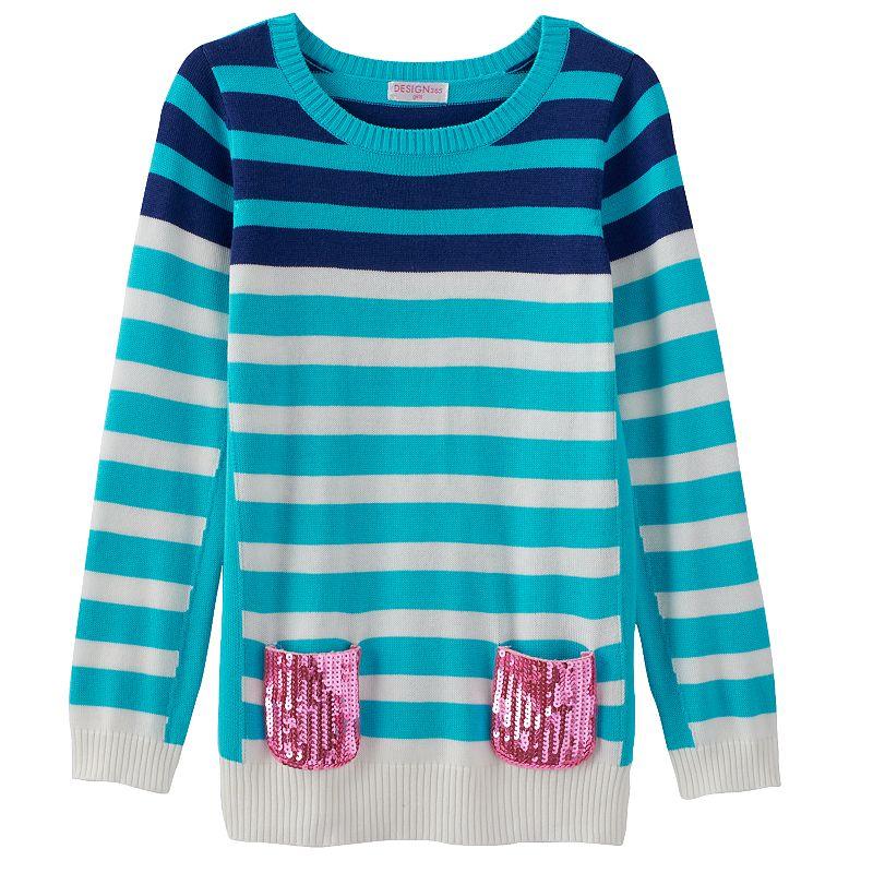 Girls 4-6x Design 365 Green Stripe Sweater