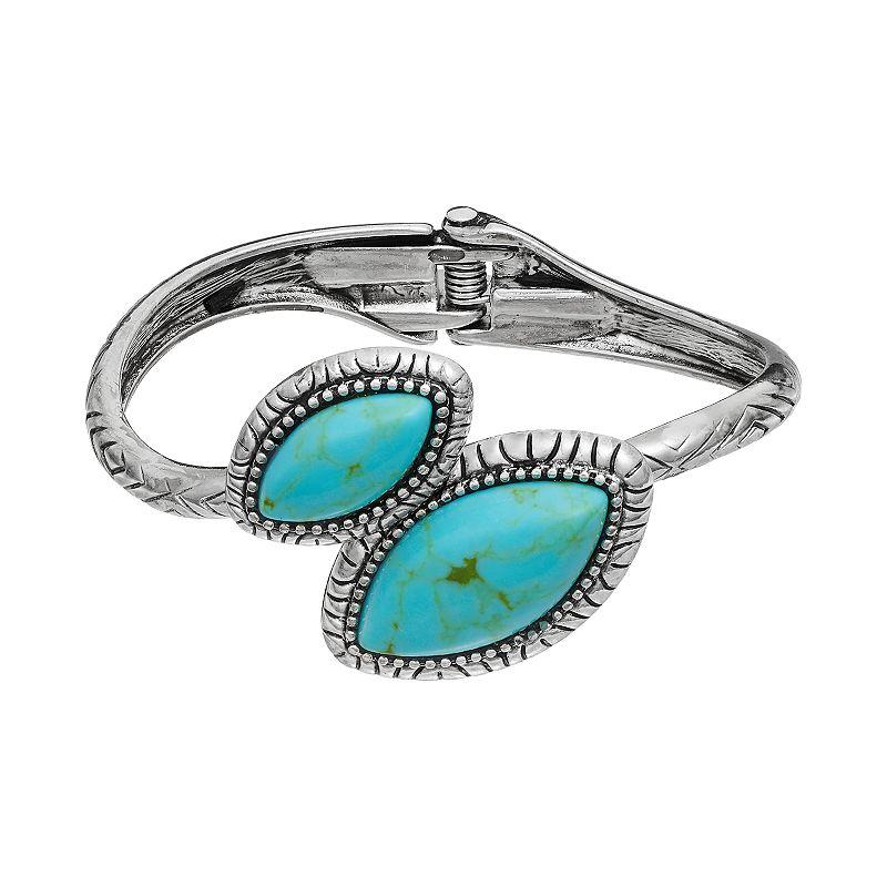 Mudd® Marquise Bypass Hinged Bangle Bracelet
