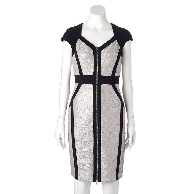 Women's Jax Metallic Zipper Sheath Dress