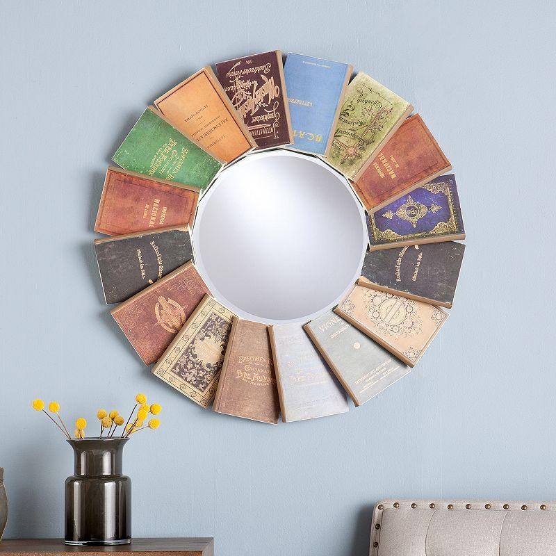 Round Vintage Books Wall Mirror