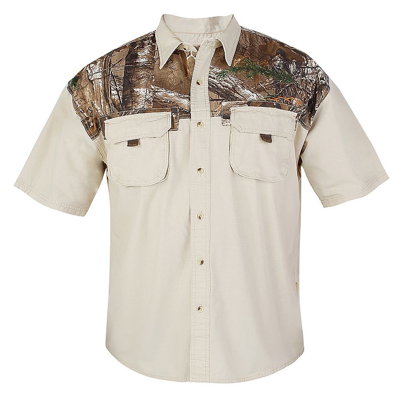Men's Realtree Earthletics Classic-Fit Camo Ripstop Button-Down Camp Shirt