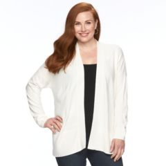 Plus Size Napa Valley Open Front Ribbed Cardigan