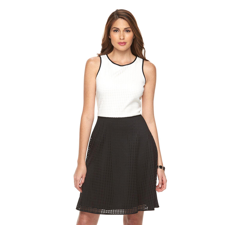 Womens Suite 7 Colorblock Scuba Fit & Flare Dress