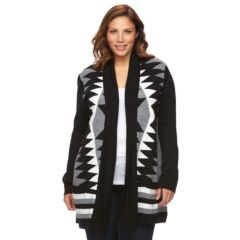 Plus Size Napa Valley Jacquard Open-Front Cardigan