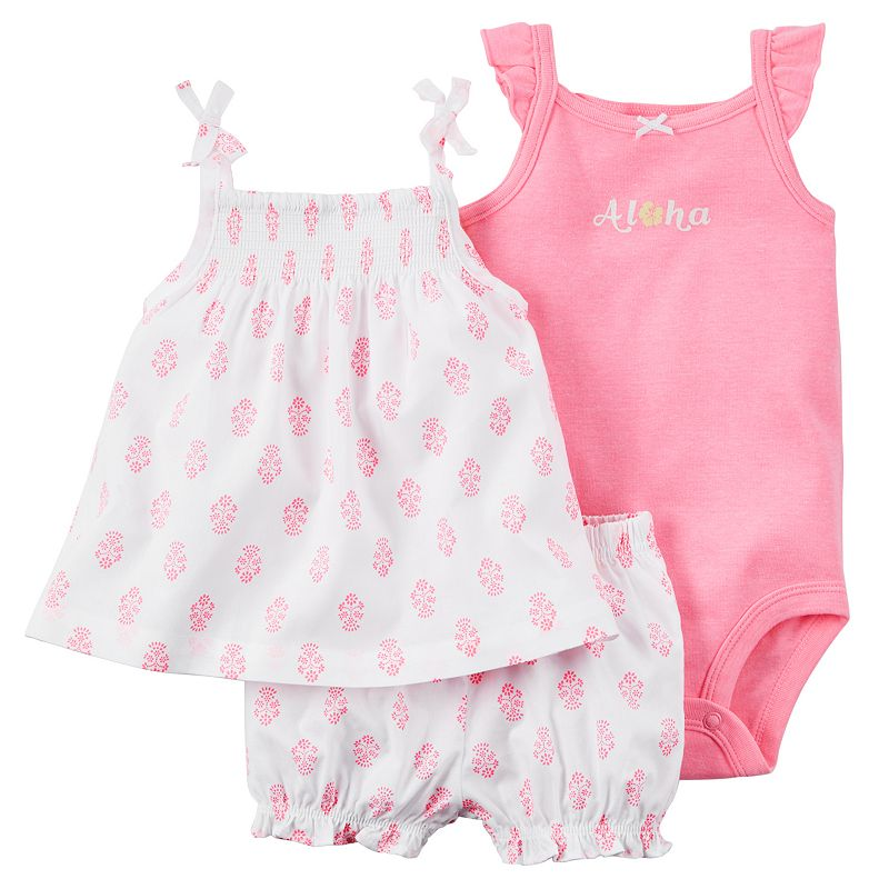 Baby Girl Carter's Smocked Tank, Bodysuit & Shorts Set