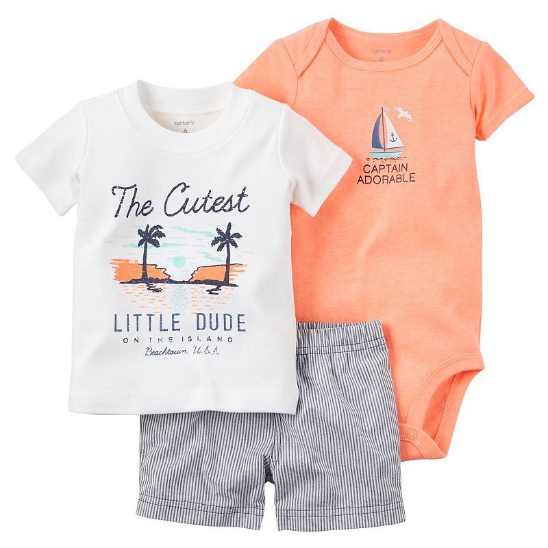 Baby Boy Carter's Graphic Tee, Bodysuit & Shorts Set