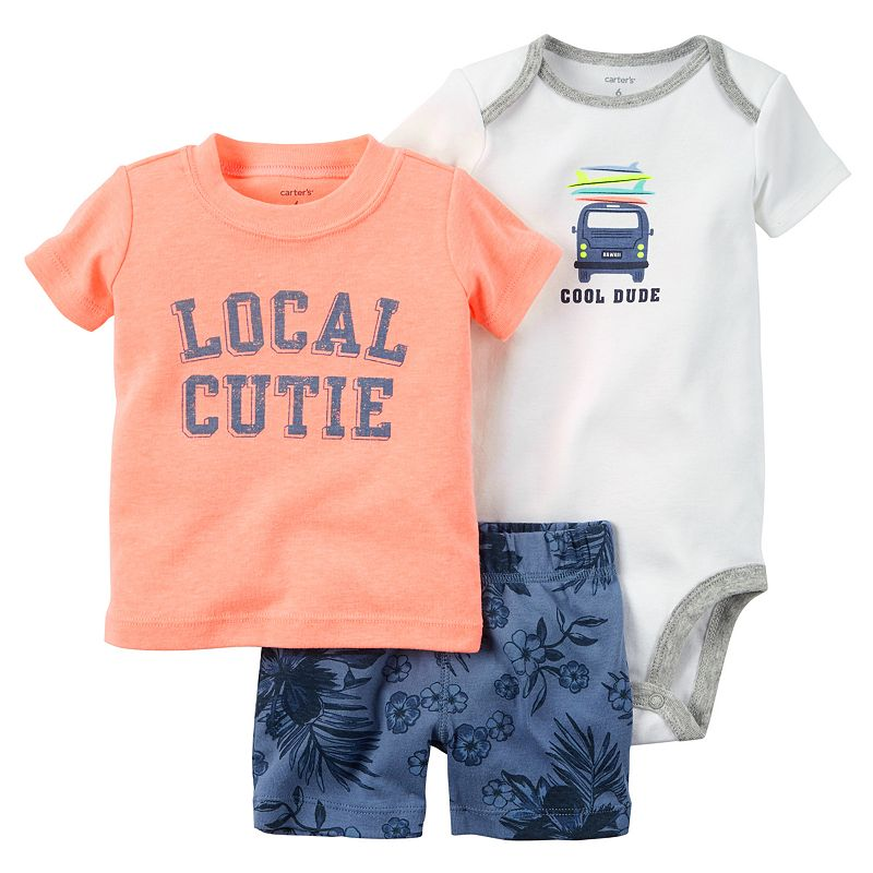 Baby Boy Carter's Graphic Tee, Bodysuit & Printed Shorts Set