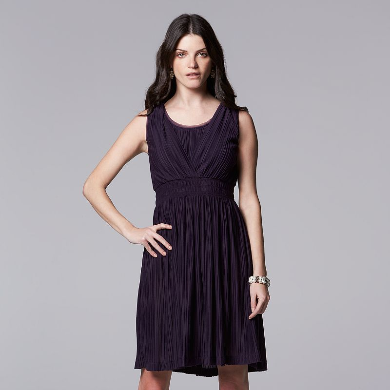 Petite Simply Vera Vera Wang Smocked Empire Dress
