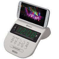 Jensen Bluetooth Clock Radio with Smartphone Holder