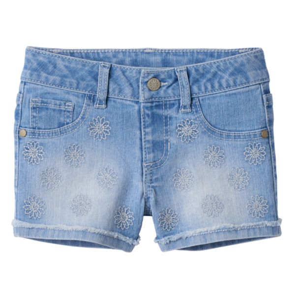 Girls 4-7 SONOMA Goods for Life™ Embroidered Fringe Cuff Denim Shorts