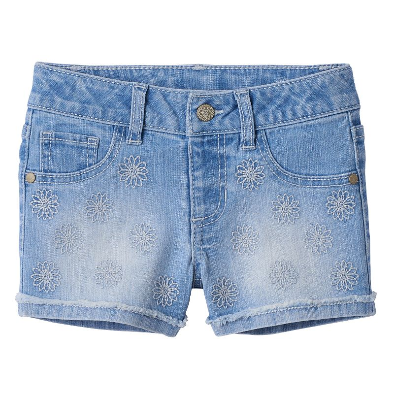 Girls 4-7 SONOMA Goods for Life™ Embroidered Fringe Cuff Denim Shorts