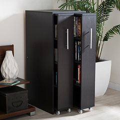 Baxton Studio Lindo Bookcase and Dual Pull-Out Shelving Cabinet by