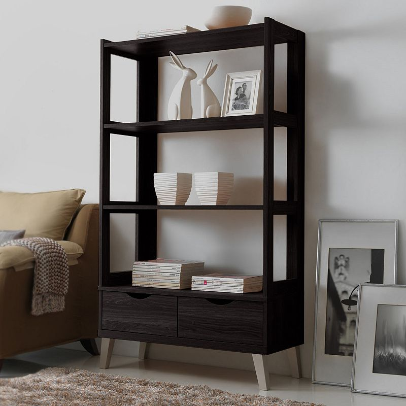 Baxton Studio 2-Drawer Kalien Wood Leaning Bookcase