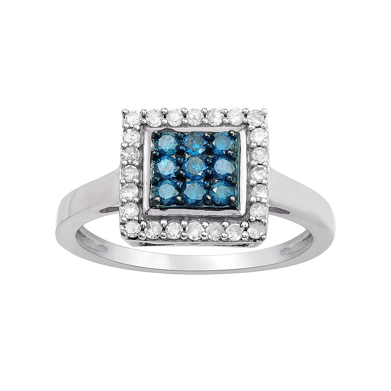 10k White Gold 1/2 Carat T.W. Blue & White Diamond Square Halo Ring