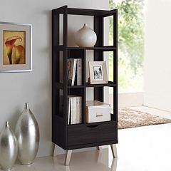 Baxton Studio Kalien Wood Leaning Bookcase by