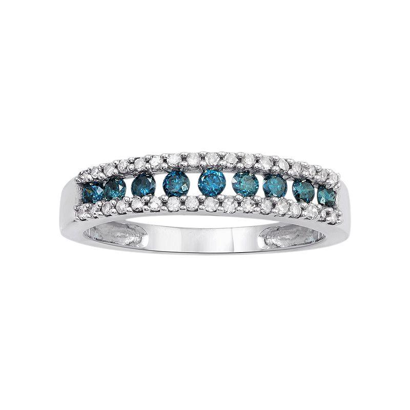 10k White Gold 1/2 Carat T.W. Blue & White Diamond Ring
