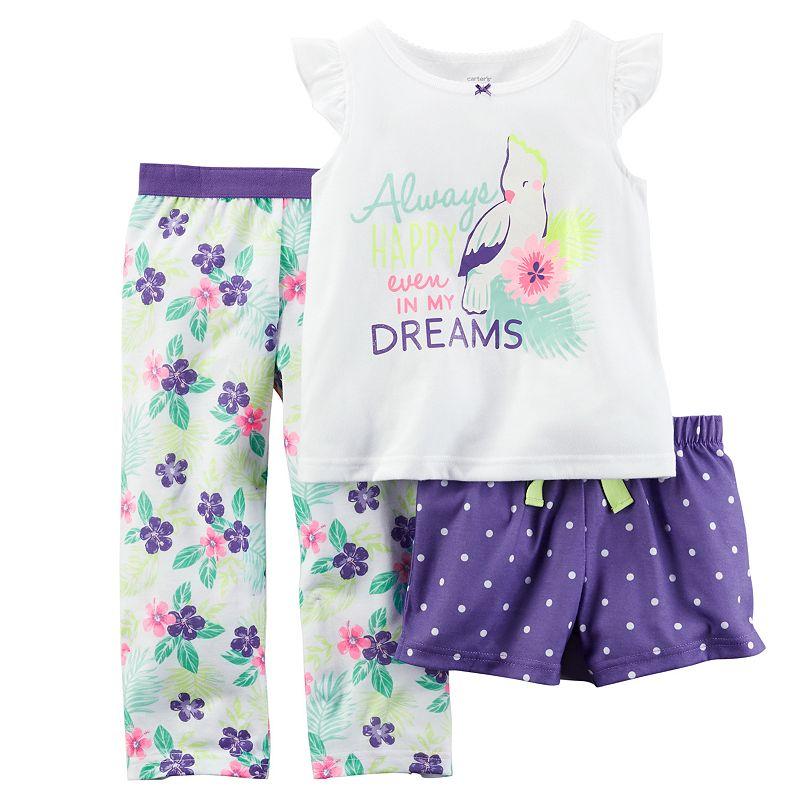 Toddler Girl Carter's Graphic Top, Shorts & Pants Pajama Set