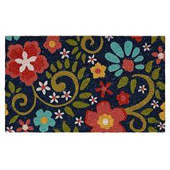 Mohawk Home Flowering Swirls Blue Coir Doormat 18'' x 30''
