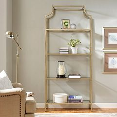 Aimee Glass Etagere 4-Shelf Bookcase by