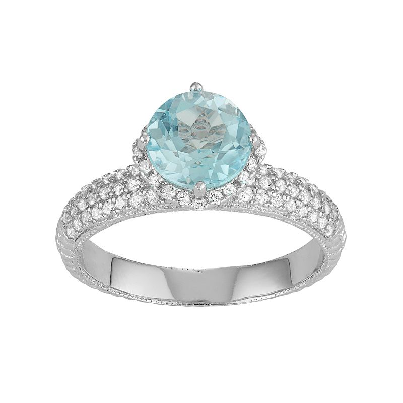 David Tutera Sterling Silver Sky Blue Topaz & Lab-Created White Sapphire Halo Ring
