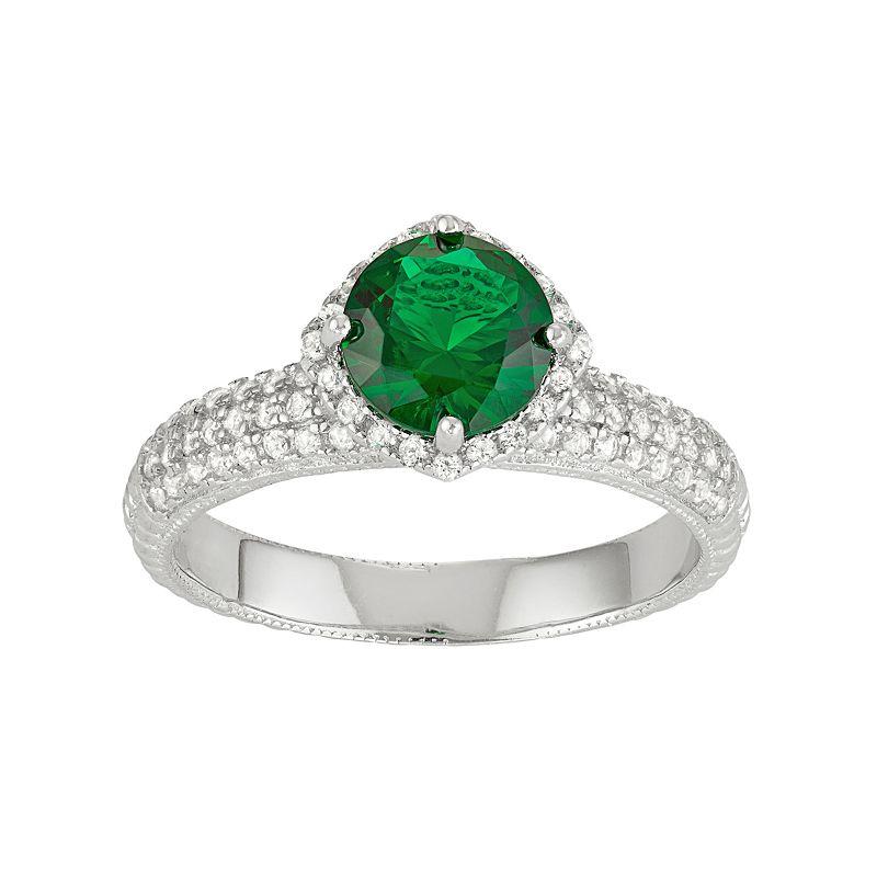 David Tutera Sterling Silver Simulated Emerald & Lab-Created White Sapphire Halo Ring