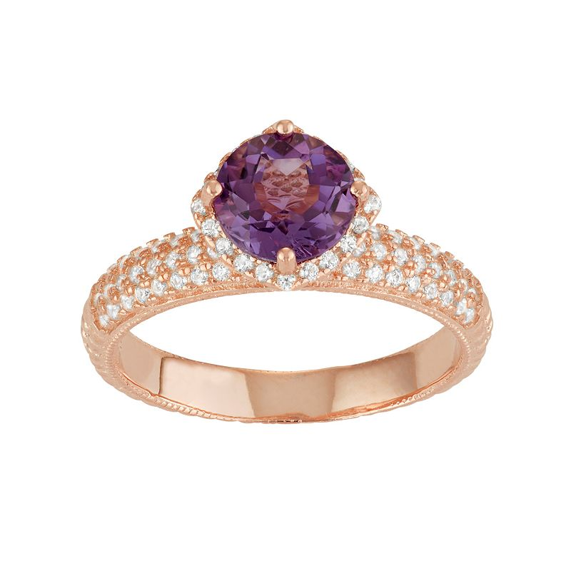 David Tutera 14k Rose Gold Over Silver Amethyst & Lab-Created White Sapphire Halo Ring