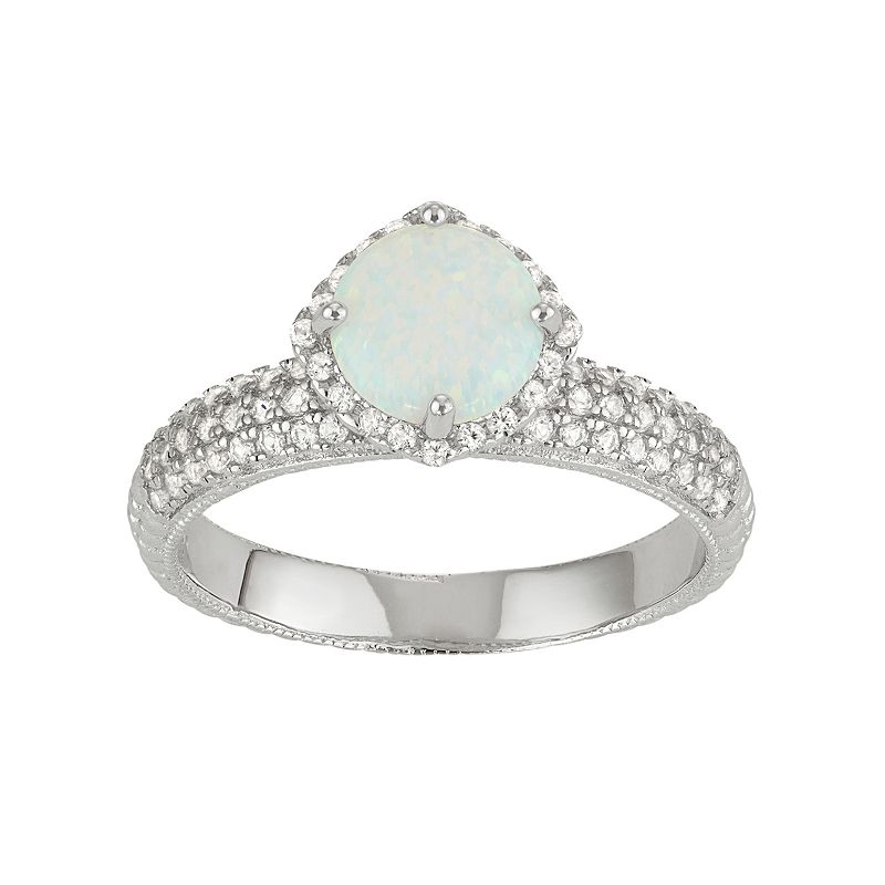 David Tutera Sterling Silver Simulated White Opal & Lab-Created White Sapphire Halo Ring