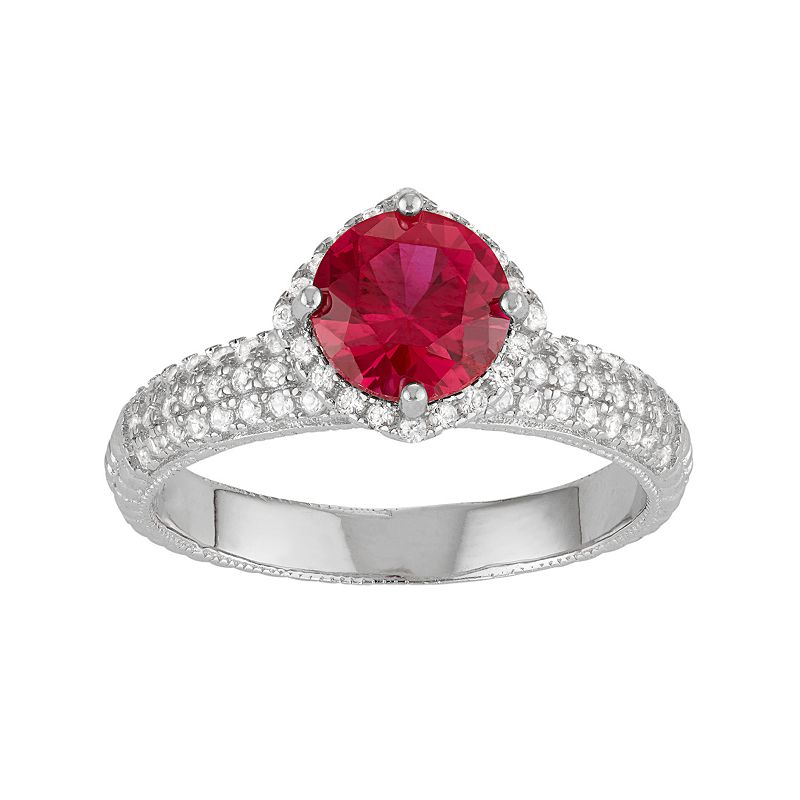 David Tutera Sterling Silver Lab-Created Ruby & White Sapphire Halo Ring
