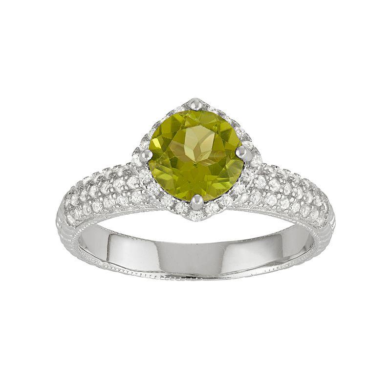David Tutera Sterling Silver Green Quartz & Lab-Created White Sapphire Halo Ring