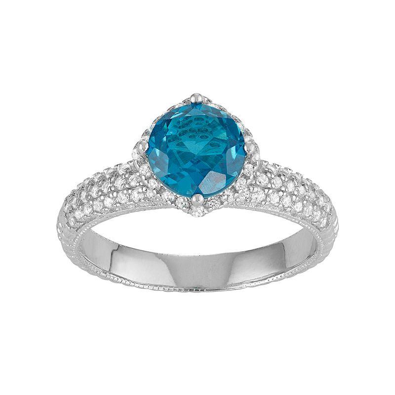 David Tutera Sterling Silver Blue Quartz & Lab-Created White Sapphire Halo Ring