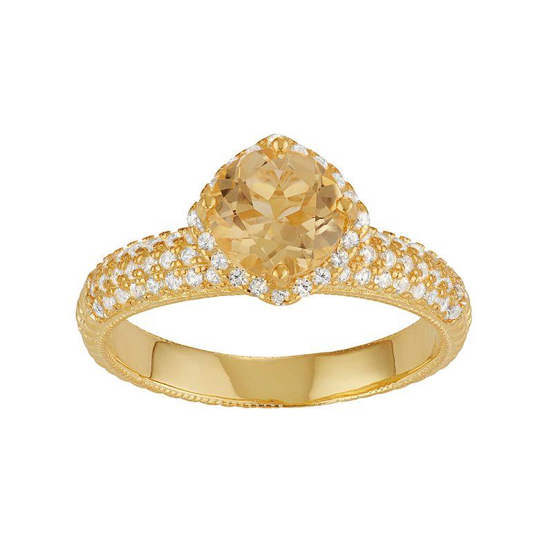 David Tutera 14k Gold Over Silver Citrine & Lab-Created White Sapphire Halo Ring