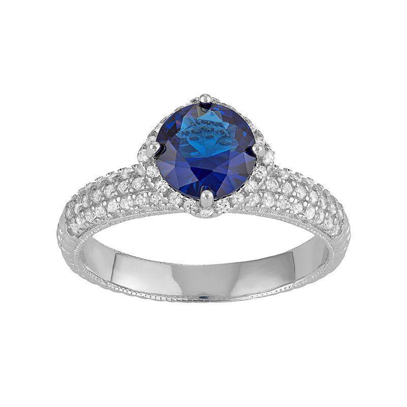 David Tutera Sterling Silver Simulated Blue Sapphire & Lab-Created White Sapphire Halo Ring