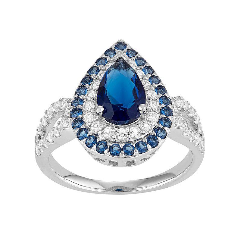 David Tutera Sterling Silver Simulated Blue Sapphire & Lab-Created White Sapphire Teardrop Halo Ring