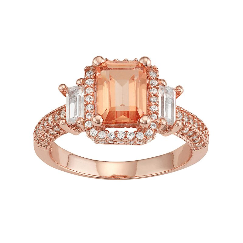 David Tutera 14k Rose Gold Over Silver Peach Quartz & Lab-Created White Sapphire 3-Stone Ring